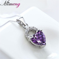 Christmas Gift AAA 100 925 Sterling Silver Jewelry Heart Shaped Necklaces Pendants Silver 925 Fine Jewelry