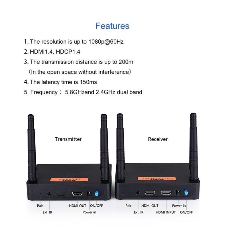 New Hot 5.8 GHz/2.8 GHz HDMI Extender Full HD 1080 P 60Hz Sans Fil Audio Vidéo Émetteur Récepteur NV99
