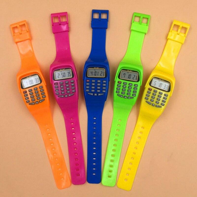 LED Calculator Watch Electronic Digital Chronograph Computer Kids Children Boys Girls Sport Rubber Wrist Watches