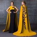 Increíble Sirena abendkleider Vestido de Noche con la Capa Larga 2 Unidades Prom Vestidos de Encaje Negro y Oro Vestido Formal Vestido Longo