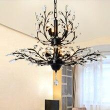 Американский Винтаж K9 Хрустальный цветок люстра лампа для Дома Деко Гостиная Ретро железная E14 лампа люстра светильник