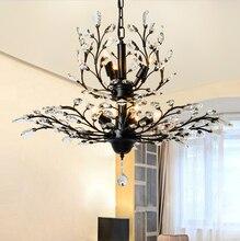 ФОТО american vintage k9 crystal flower chandelier lamp home deco living room retro iron e14 bulb chandelier light fixture