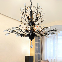 American vintage K9 crystal flower chandelier lamp home deco living room retro iron E14 bulb chandelier light fixture