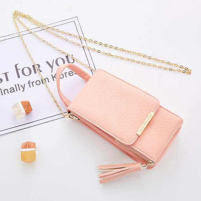 Mini Women Metal Chain Crossbody Bag Long Female Tassels Design Wallet Candy Color Girl's Cell Phone Holder Cards Pocket Clutch 2