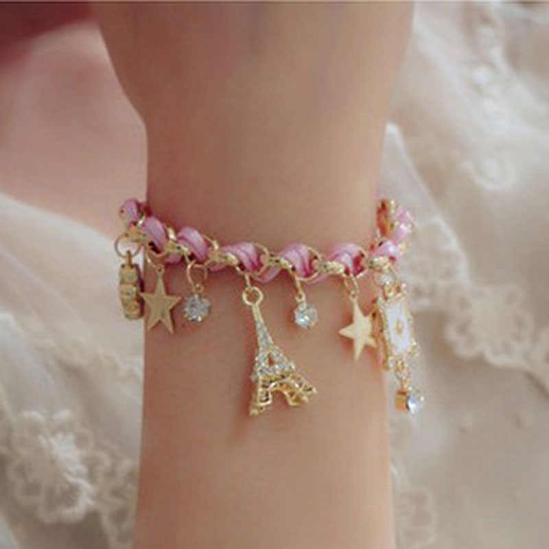 Korean fashion accessories of the Eiffel Tower star flower cord crystal accessory bracelet