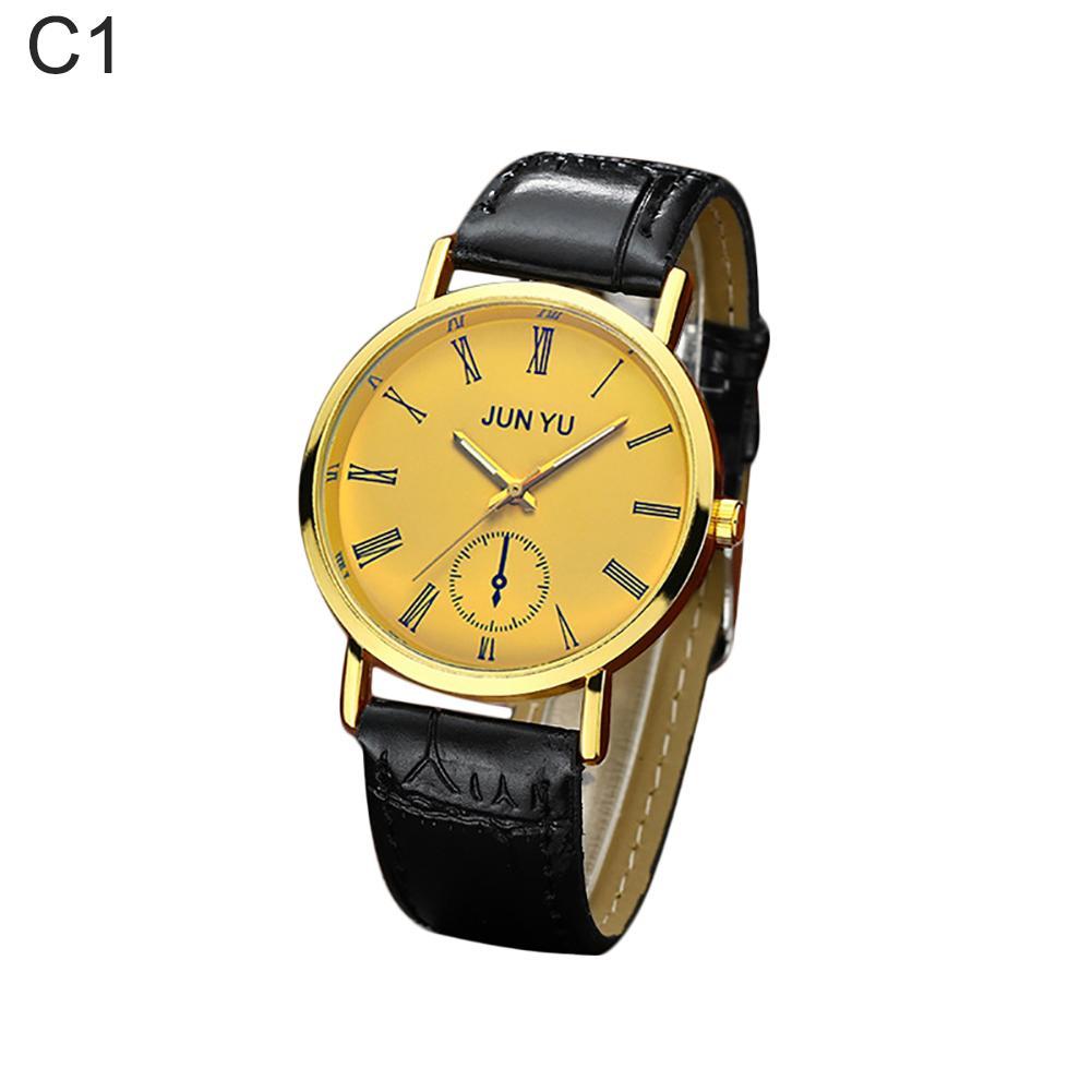 Business Men Vintage Roman Number Faux Leather Band Analog Quartz Wrist Watch relogio