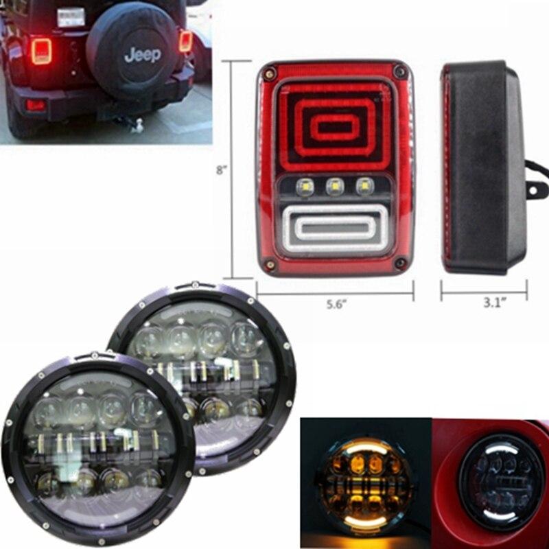 2x из светодиодов заднего Обратный хвост стоп тормозной включите свет лампы с 2 7 дюймов 80W светодиодные фары для 07~16 Jeep Вранглер JK