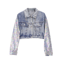 2019 New Sequins Decorated Loose Jeans Coat Women's Short Breaking Pocket Cowboy Outwear Chic Retro Demin Jacket