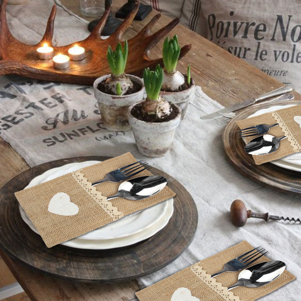OurWarm 5pcs Vintage Lace Burlap Table Runner Hessian Jute Country Party Imitated Linen Tablecloth Wedding Banquet Home Decor in Table Runners from Home Garden