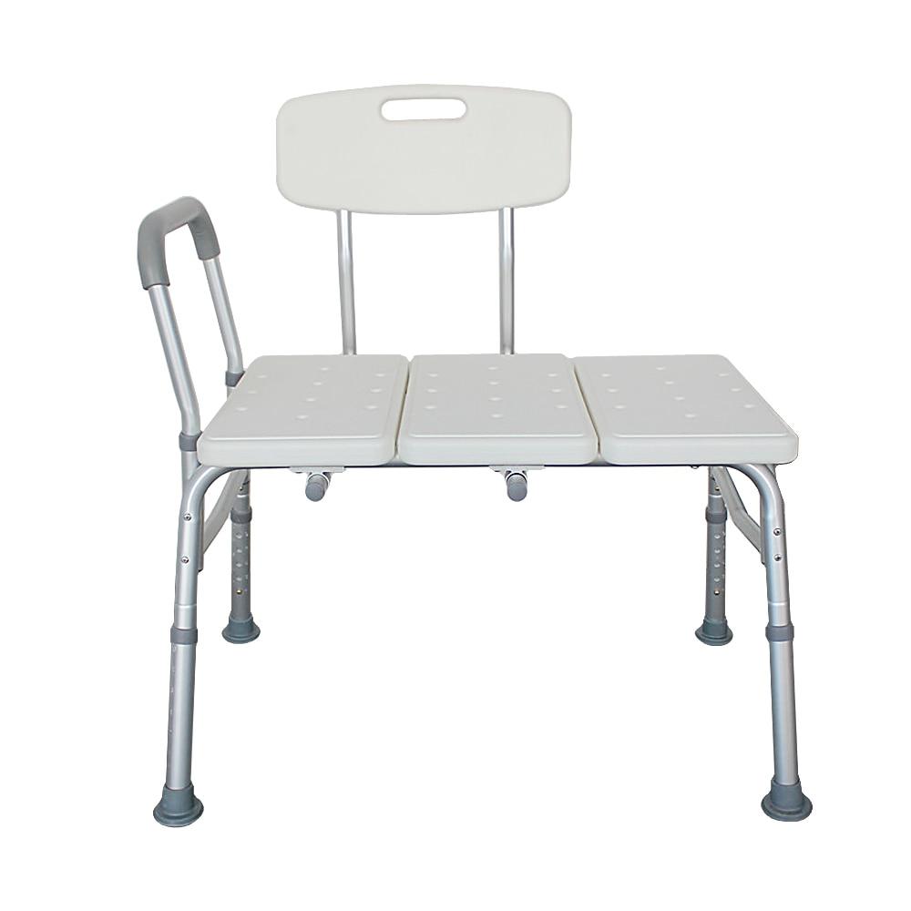 3 Blow Portable Shower Chair  Non-Slip Safety Handicap Elderly Bench Back Molding Plates Aluminum Alloy Elderly Bath Chair White