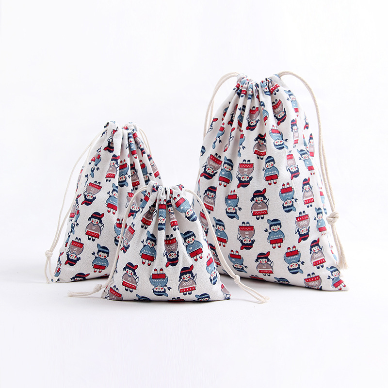 YILE 1pc Handmade Cotton Cotton Linen Drawstring Party Gift Bag Multi-purpose Pouch Print Boy Girl 8129i