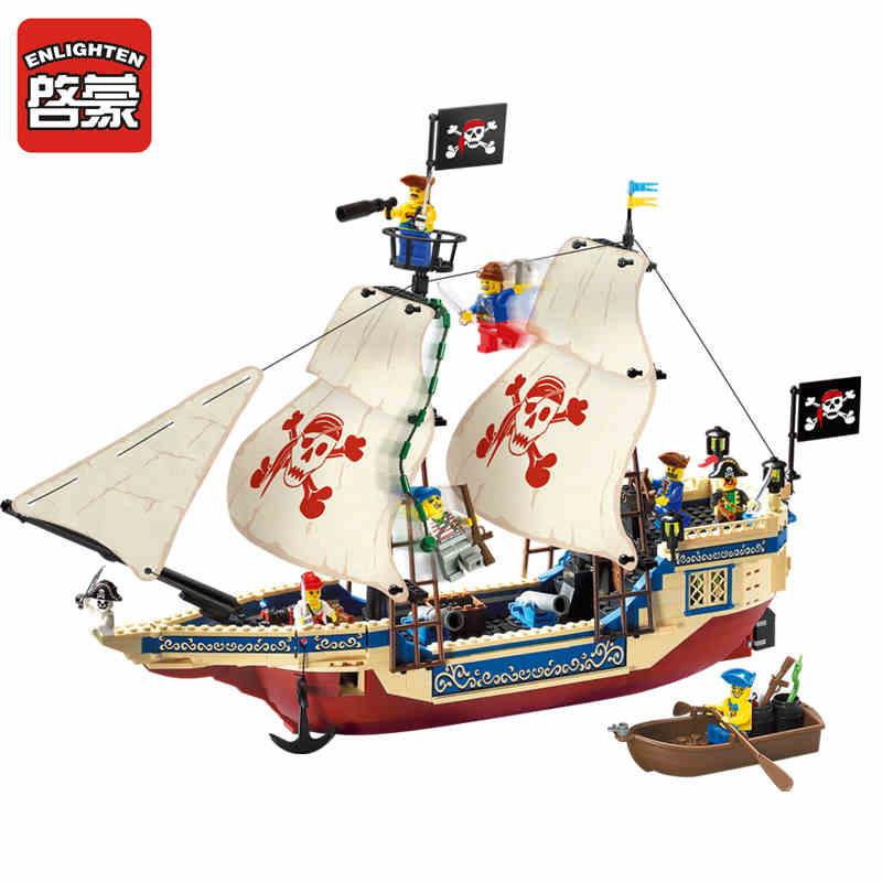 Enlighten 311 Pirate Series Pirate Ship KING OF THE SEAS Figure Blocks Compatible Legoe Construction Building Toys For Children enlighten 908 scaling ladder fire rescue truck firefighting figure blocks construction bricks toys for children compatible legoe