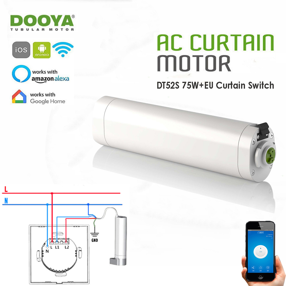 Dooya DT52S 75W 4 Wire Curtain Motor+Jinvoo app WIFI Curtain Switch,Alexa and Google Home Voice Control,Smart Home Curtain Kit