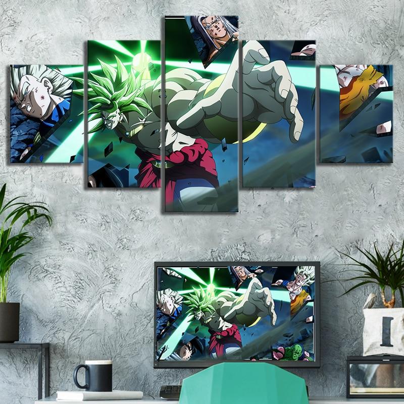 5 Piece Animation Art Super Saiyan Broli Dragon Ball Poster Canvas Art Wall Paintings for Home Decor 1