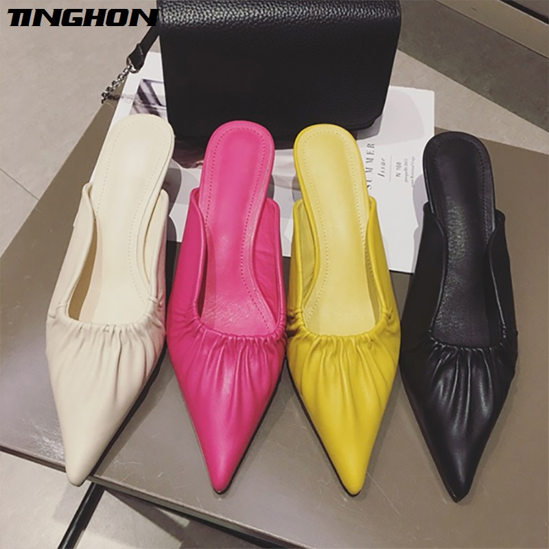 TINGHON Pleated Pointed Toe 5CM High Heel Women Pumps Slip on Kitten Heel Women Mules Brand Design Women Pumps Shoes in Women 39 s Pumps from Shoes