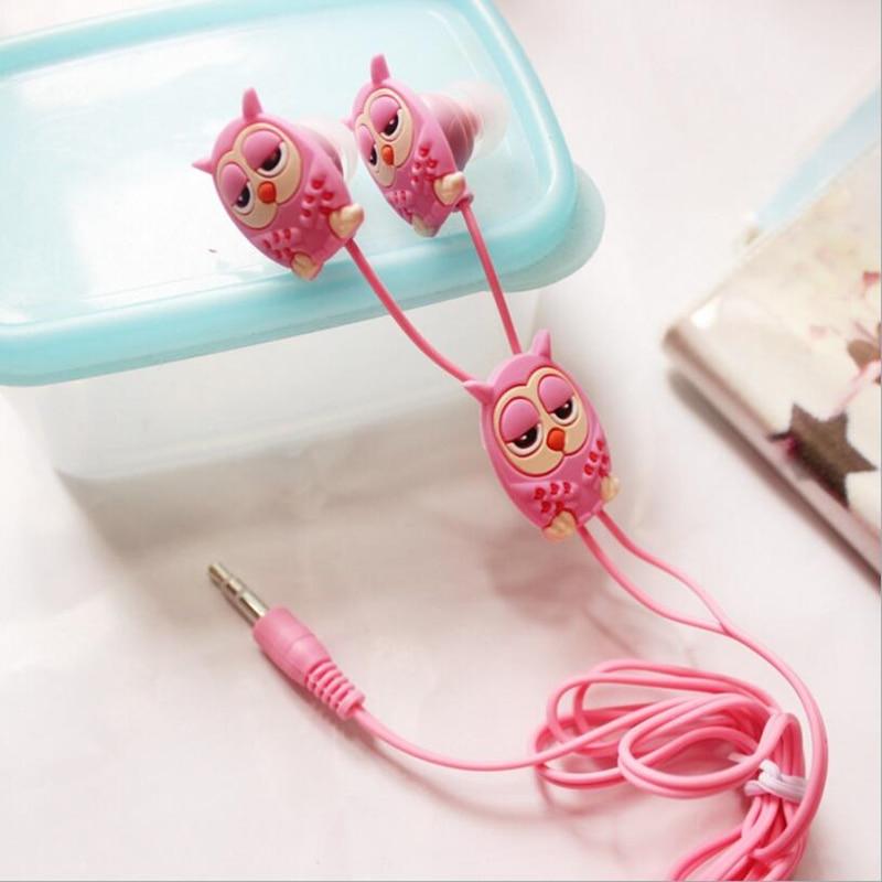 CHICLITS Cute Owl Earphone 3.5mm 3D Stereo Cartoon In-ear Earbus MP3 MP4 Music Universal Earplugs Girl Kid Earphones For Phones