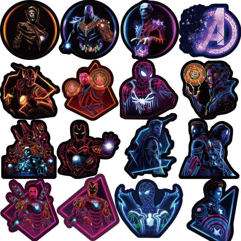100 sztuk Neon superbohater naklejki pcv Marvel naklejka Skateboard bagaż motocyklowy naklejki Laptop zestaw wodoodporny Super hero naklejka