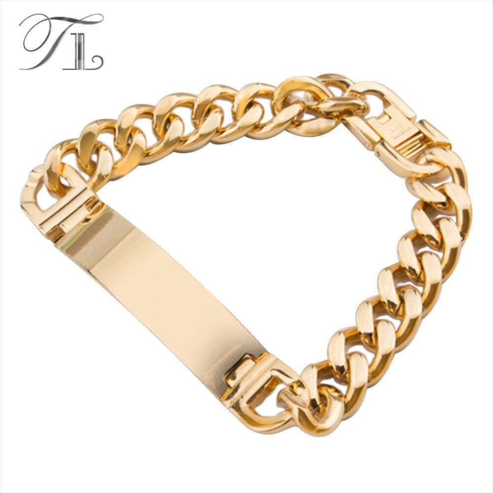 954fdb1a2257b TL AAA+Never Fade!! Stainless Steel ID Bracelets Men Fashion Jewelry Gold  Silver Men Id Bracelet Pulsera Hombre Solid Bracelets