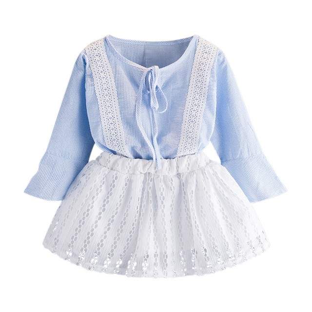 88a98cc45756d Kids Clothes for Girls The Bow Skirt and Lace Top Summer Suit Korean Style  Children's Clothing Sets Baby Toddler Set 2-8 Years