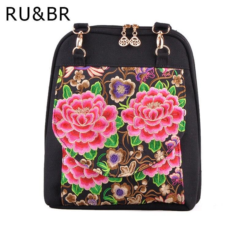 RU&BR Flowers Handmade Embroidery Women Backpacks Casual National Wind Bags Fashion Designer Backpacks Women Travel Shoulder Bag
