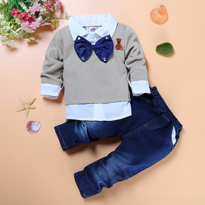 Fashion baby boys denim set Gentleman Children clothes Sets Cotton Long Sleeve T-shirt Denim Suit Boy Toddler Cubs Tie Lapel 2017 new boys clothing set camouflage 3 9t boy sports suits kids clothes suit cotton boys tracksuit teenage costume long sleeve