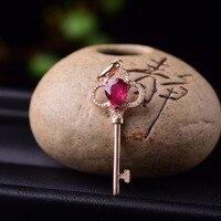 Natural red Tourmaline Pendant 18K Gold Gemstone Pendant key shape
