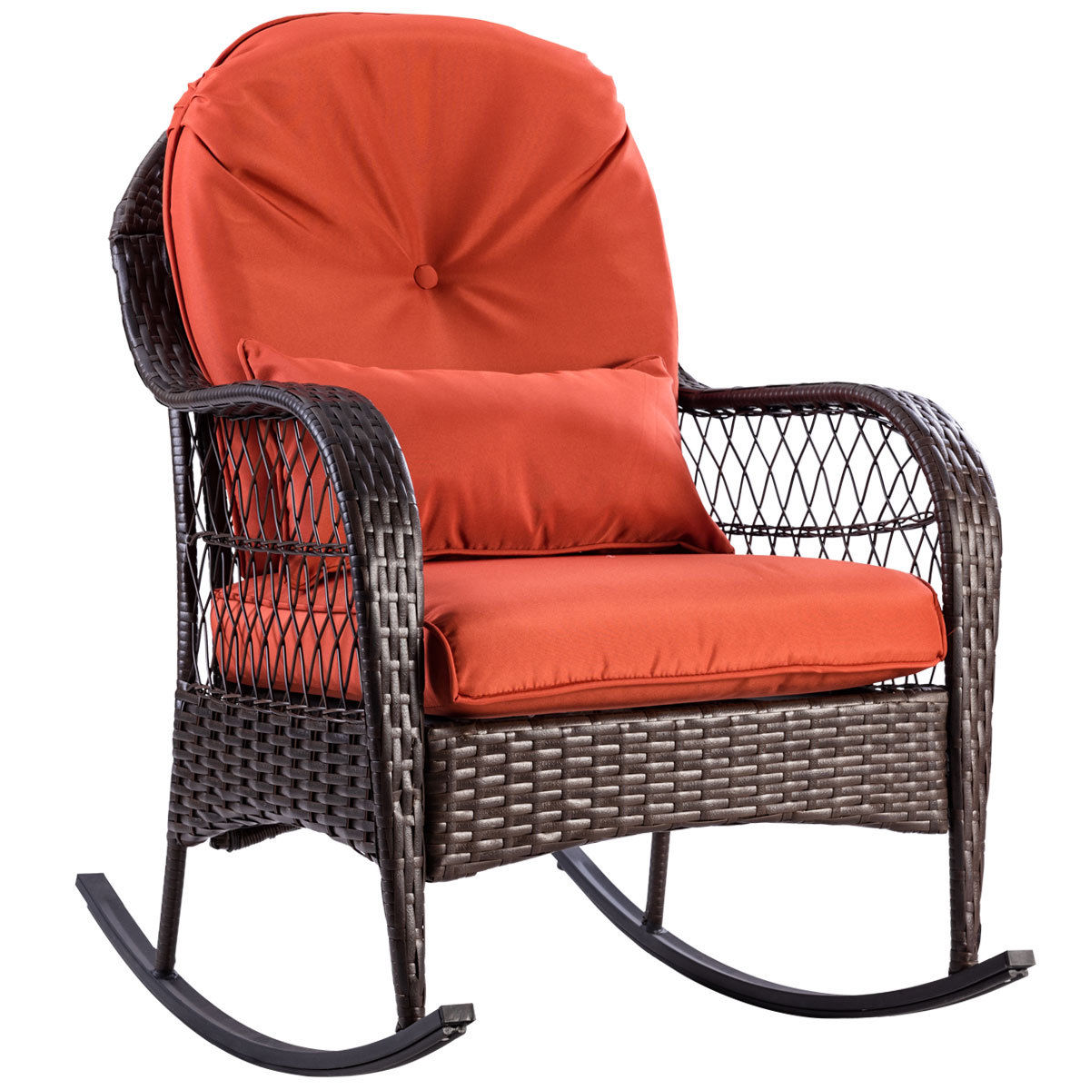 giantex patio rattan wicker rocking chair modern porch deck rocker outdoor furniture with padded. Black Bedroom Furniture Sets. Home Design Ideas