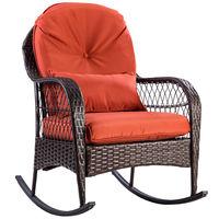 Giantex Patio Rattan Wicker Rocking Chair Modern Porch Deck Rocker Outdoor Furniture with Padded Cushion HW57256