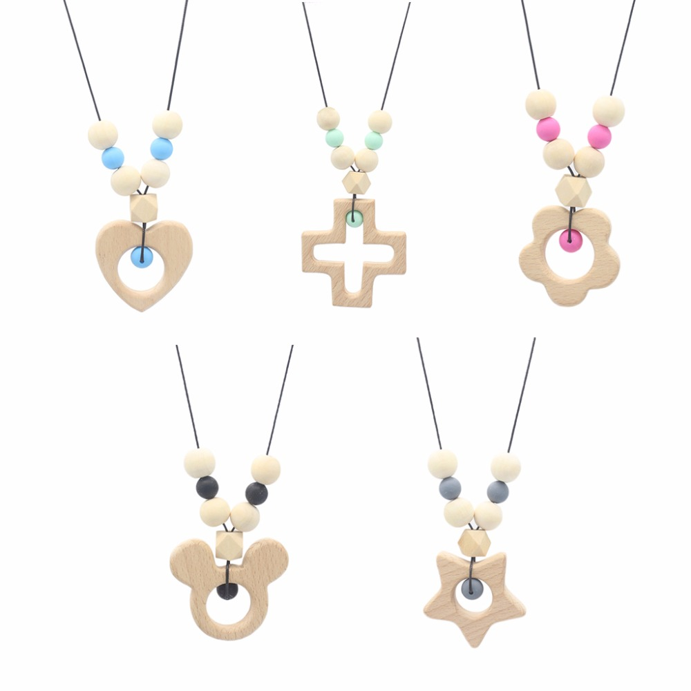 OOTDTY Baby Teether Necklace Silicone Wooden Pendant Beads Star Teething Nursing Toys