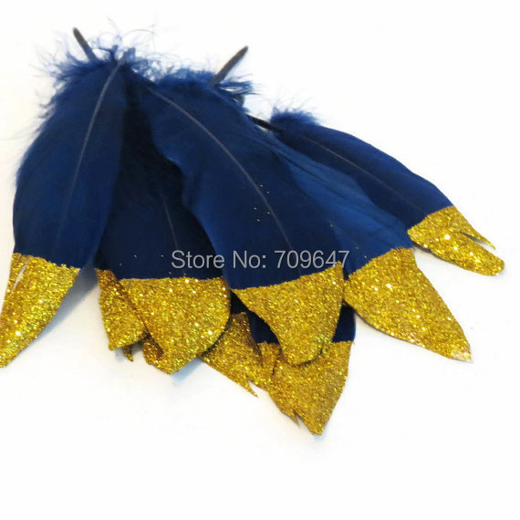 100Ppcs/lot!Gold Glitter Dipped Feathers,Navy Blue and Gold Glitter Feathers,Party Supplies,Boho Wedding Decor,Fashion Decor