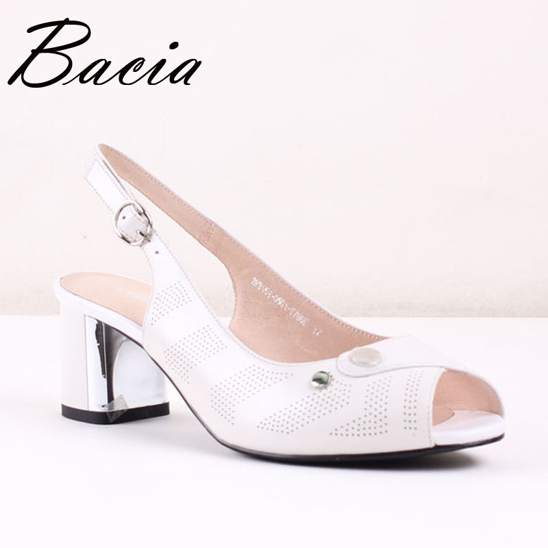 ФОТО Bacia White Sheep Skin Sandals Handmade Quality Shoes 6.2cm Thick Heels Summer Pumps Size 35-40 Simple Style Leather Shoes SA035