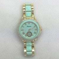 ירוק מנטה זהב עמיד למים Montre שעון מותג אופנה ז 'נבה צפה נשים 2016