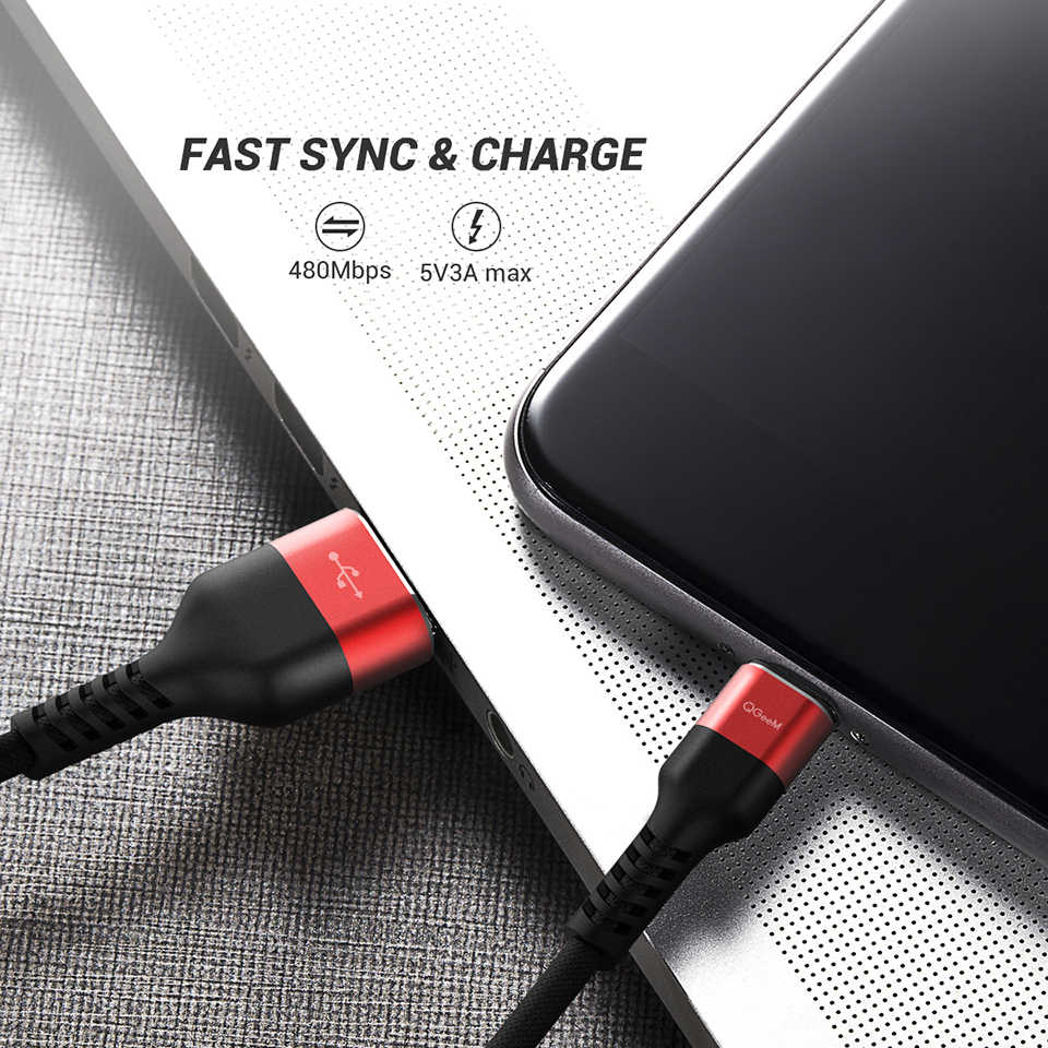 Qgeem Micro USB Kabel 2.4A Nilon Fast Charge USB Kabel Data untuk Samsung Xiaomi LG Tablet Android Ponsel Usb kabel Pengisian