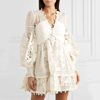 Luxury Brand 2019 Summer Solid White Women Dress Lace MeshHollow Out Perspective Sexy Dress Vestidos V neck Lady Mini dress