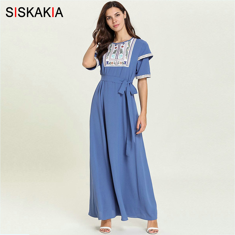 Siskakia Sweet Ladies Summer Long Dress Fresh Ethnic Floral Embroidery Patch Maxi Dresses 2019 Blue Round