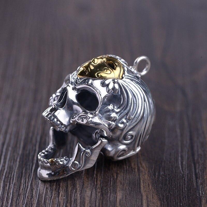 Серебро восстановление древних способов процесс мужская маска для лица Череп Кулон может открыть рот Тайское Серебро оптовая продажа - 2