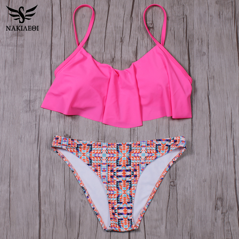 NAKIAEOI 2018 New Sexy Bikinis Women Swimsuit Push Up Swimwear Bandage Print Brazilian Bikini Set Ruffle Bathing Suits Swim Wear 4