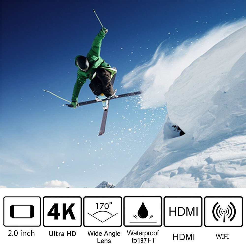 ThiEYE i60 + 4 K 30fps Full HD WiFi caméra d'action 60 M étanche Sport vidéo caméra 170 degrés grand angle Sport Cam - 3