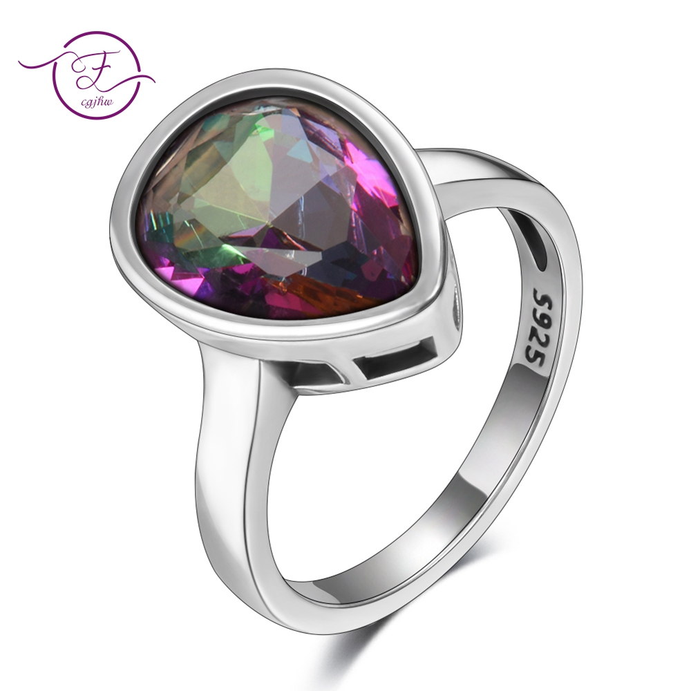 Genuine 925 Sterling Silver Jewelry Water Drop Rainbow Fire Mystic Topaz Rings For Women Fine Jewelry Anniversary Gift Wholesale