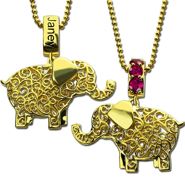 Custom birthstone elephant necklace gold color lucky elephant custom birthstone elephant necklace gold color lucky elephant jewelry engraved name necklace lucky charm best gift aloadofball Gallery