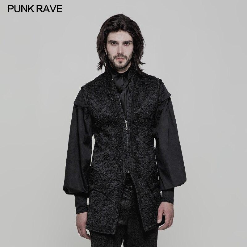 Punk Rave veste pour hommes Gilet Noir Ouvert Fourche Victorienne Magnifique Rétro Goth Mode Longues Hommes de gilet veste sans manches