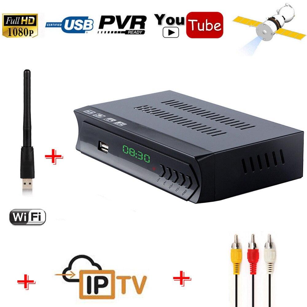 KOQIT 1080 p DVB-S2 caja de tv Digital FTA Receptor de satélite m3u IPTV Combo sintonizador de TV Cline Biss Powervu RJ45 antena Wifi