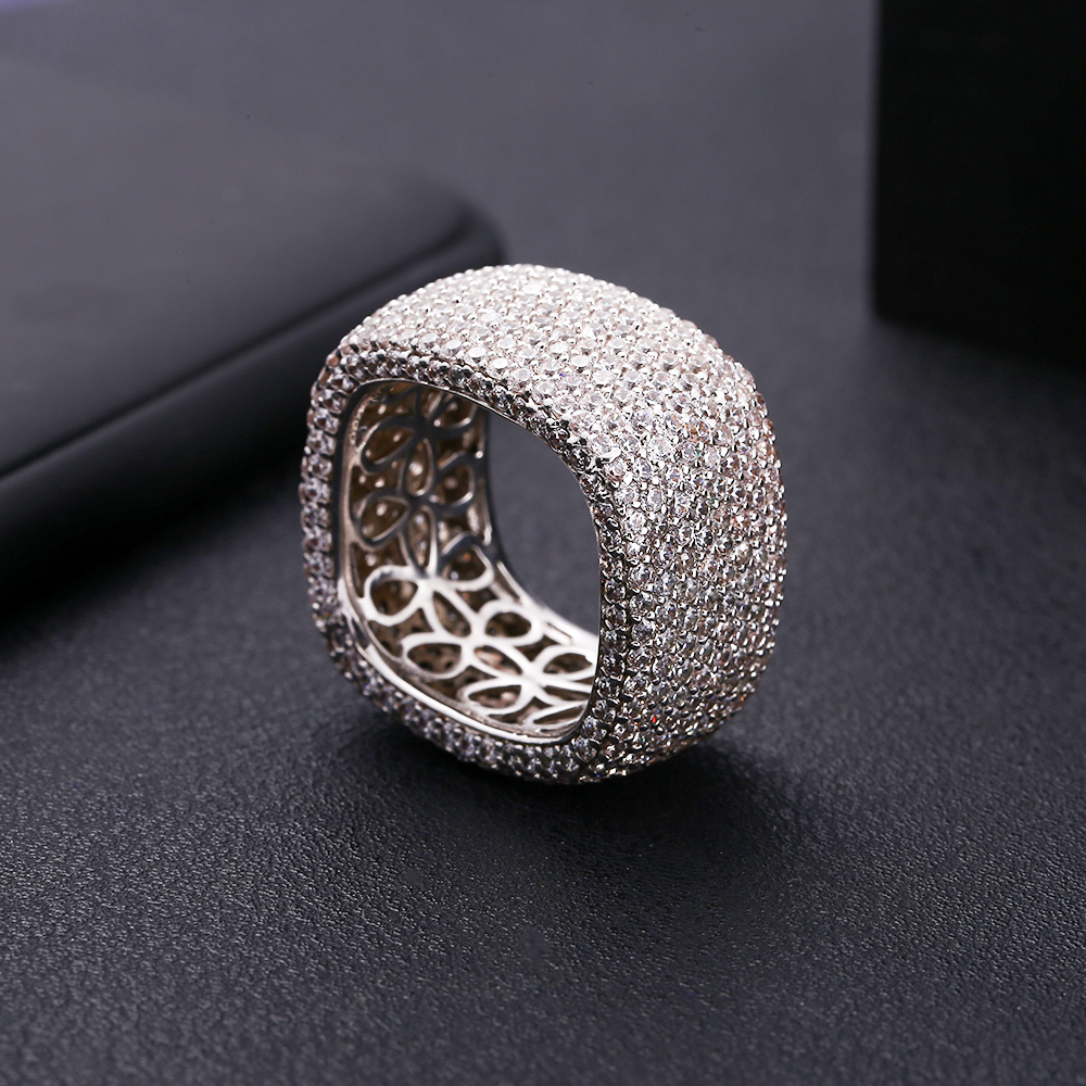 Accking Shape-Ring Square Finger-Accessory Zircon Luxury Aaa Women for And Man Gift Full-Cubic