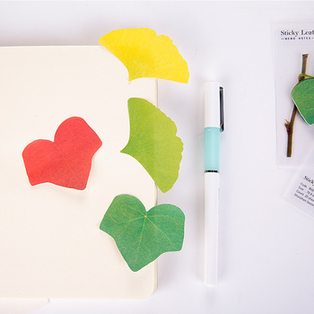 new creative self-adhesive DIY realistic decoration leaves notes convenient sticky paper scrapbook Korean stationery Memo Pads