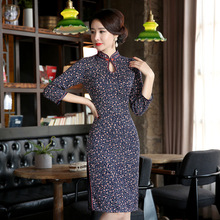 New Arrival Traditional Chinese Style Evening Dress Women Print Flower Slim Short Qipao Vintage Elegant Cheongsam Size M – XXXL