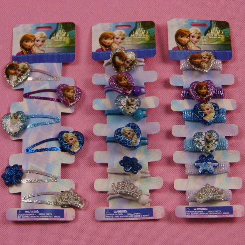 6pcs/lot Frozen doll accessories hairpin Aisha Anna headdress doll jewelry crown children BB clip hair clip crown shaped hair clip