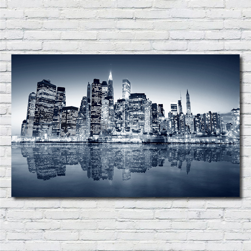 Poster Canvas Wall Art Pictures Home Decor Night Skyline