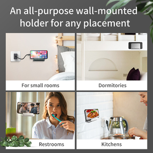 Image 2 - Baseus Wall Holder for Power Bank Phone Charging Mount Holder Adhesive Charging Socket for iPhone Holder Stand Phone Socket