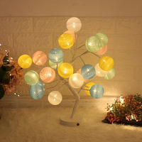 Led cotton ball tree lamp, colored lamp bedside lamp USB girl heart room decoration desk lamp bedroom hostel romantic L70
