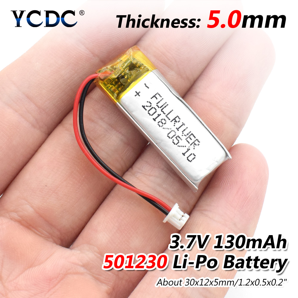 3.7V 130mAh 501230 Lithium Polymer Li-Po Li Ion Rechargeable Battery Lipo Cells For Mobile Bluetooth Earphone Speaker MP3 MP4
